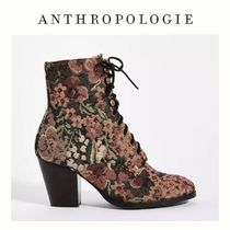 安心*国内発送【Anthropologie】Tapestry Lace-Up Boots 茶