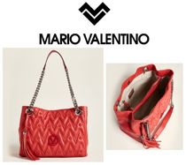 MARIO VALENTINO☆Poppy Red Luisa Quilted Leather Tote