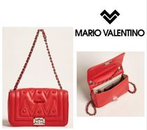 MARIO VALENTINO☆Poppy Red Beatriz Quilted Leather Shoulder