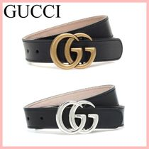 GUCCI キッズ GGロゴ  レザーベルト 2色 Gold Silver 送料込み