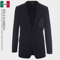 DOLCE & GABBANA DG CROWN PATCH JERSEY SINGLE-BREASTED JACKET