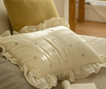 【DECO VIEW】Natural Daisy Embroidery Frill Pillow Cover