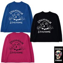 ★STOCKHOLM SYNDROME★BACK GHOST EMB V-NECK SWEATER 3色