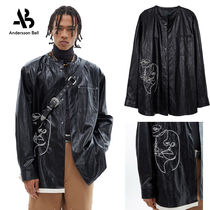 ◇Andersson Bell◆UNISEX FAUX LEATHER EMBROIDERY SHIRTS