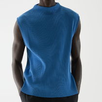 """COS MEN"" O-COTTON OVERSIZED COLLAR KNITTED VEST BLUE"