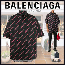 【人気】20AW[BALENCIAGA]ALLOVER SPORTY LOGO 半袖ジップシャツ