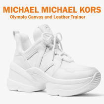 【MICHAEL KORS】Olympia  Canvas and Leather Trainer