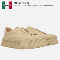 JIL SANDER SMOOTH LEATHER AND RUBBER LOW-TOP SNEAKERS