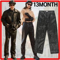 ★韓国の人気★13MONTH★SNAP WIDE LEATHER PANTS★