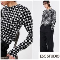 新作人気★ESC STUDIO★ Slit long sleeves (check)