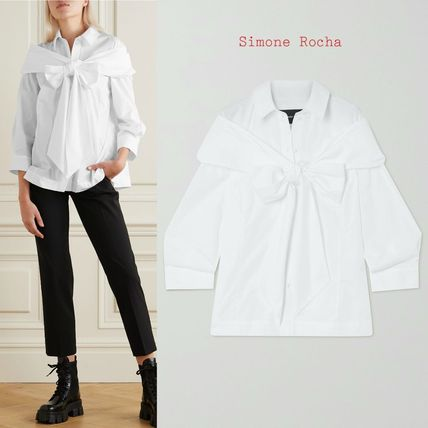 Simone Rocha ブラウス・シャツ ∞∞ Simone Rocha ∞∞ Bow-embellished cotton シャツ☆