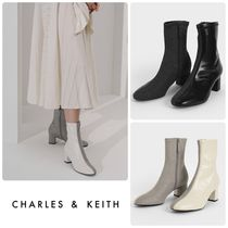 ★CHARLES & KEITH★Two-Tone Block Heel Ankle Boots/送料込