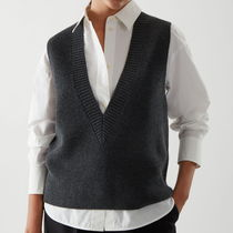 """COS"" KNITTED V-NECK MERINO WOOL VEST GRAY"