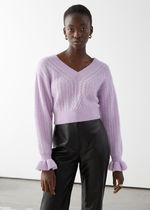 & Other Stories☆Cropped Boxy Cable Knit Sweater