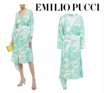 Emilio Pucci☆Belted printed pleated crepe de chine-paneled