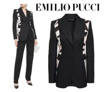 Emilio Pucci☆Printed satin-paneled wool-blend twill blazer