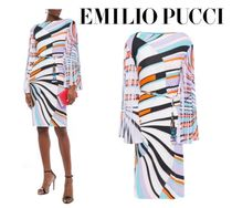 Emilio Pucci☆Printed pleated georgette-paneled jersey dress