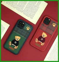 ●DESIGN SKIN● 刺繍 Bear Pocket iPhone Case 2colors