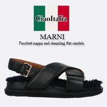 MARNI Fussbett nappa and shearling flat sandals