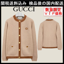 関税送料込★GUCCI★Camel wool and suede cardigan