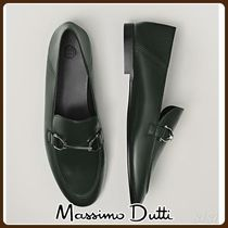 MassimoDutti♪GREEN LOAFERS WITH BUCKLE DETAIL