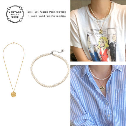 ◇VINTAGE HOLLYWOOD◆Pearl + Round Paintingセットネックレス