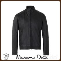 MassimoDutti♪NAVY BLUE LEATHER JACKET WITH SEAMS