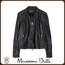 MassimoDutti♪BLACK LEATHER JACKET WITH SEAMED DETAIL