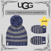 UGG☆CHUNKY STRIPE KNIT HAT AND MITTEN☆DHL送料込