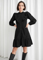 【& Other Stories】Embroidered Button Up Ruffle Mini Dress