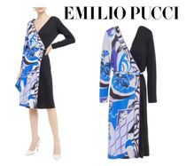 Emilio Pucci☆Wrap-effect paneled printed cady dress