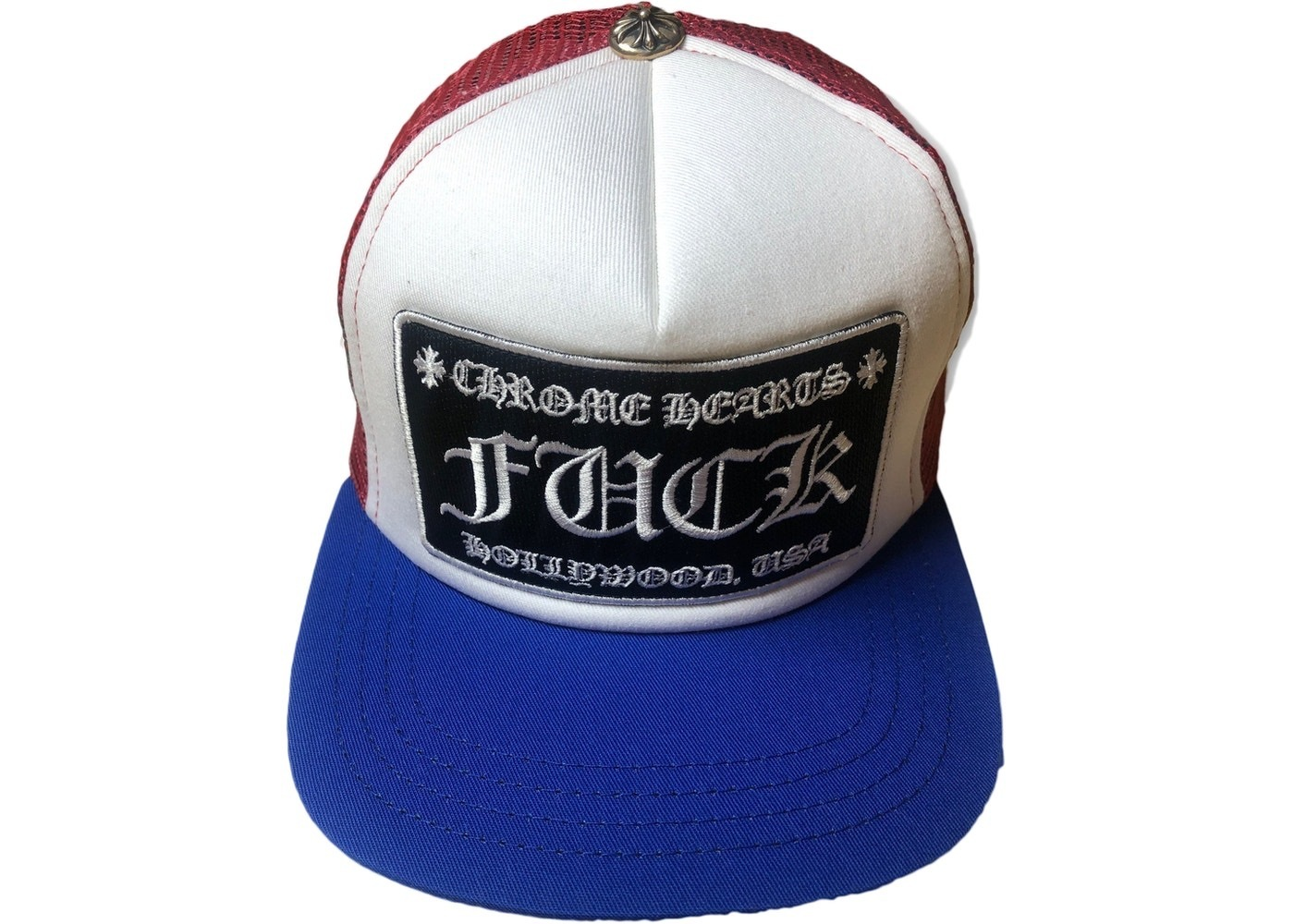 Chrome Hearts FUCK Hollywood Trucker Hat Red/White/Blue (CHROME HEARTS/キャップ) 59077564