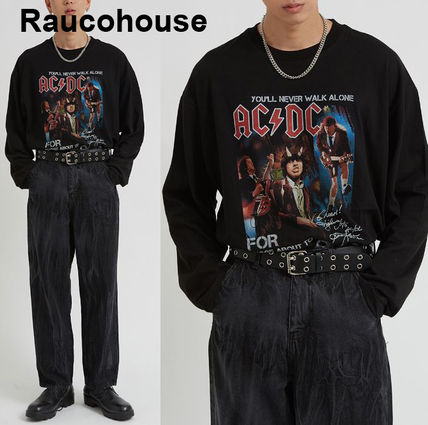 Raucohouse Tシャツ・カットソー Raucohouse ACDC Rock over fit long T-shirt