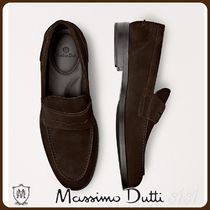 MassimoDutti♪BROWN SPLIT SUEDE PENNY LOAFERS