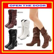 [OPEN THE DOOR]  shirring western boots (3 color) / 追跡付