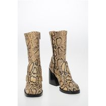 Chloe◆Python Printed Leather ADELIE Calf Length Boots 9cm