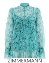 【ZIMMERMANN】Blue Moncur Gathered Frill BLOUSE