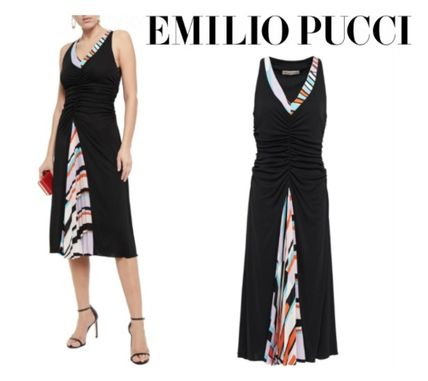Emilio Pucci☆Pleated printed crepe de chine-paneled ruched