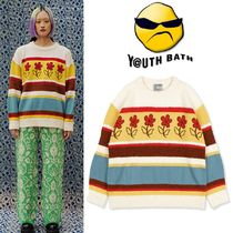 ★YOUTHBATH★FLOWER STRIPE KNITE WEAR_IVORY