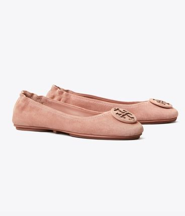 Tory Burch MINNIE TRAVEL BALLET FLAT, SUEDE LOGO