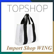 TOPSHOP LATCH BLACK AND WHITE LARGE MESH TOTE BAG