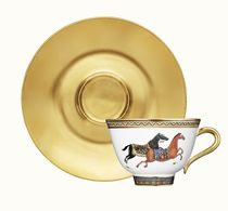 Gold soucoupe cheval  d'orient  tea cup and saucer(23cl)