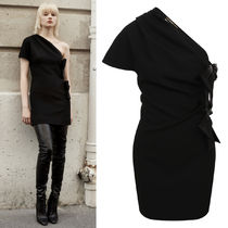 WSL1783 ONE-SHOULDER DRESS WITH BOWS IN SABLE SAINT LAURENT