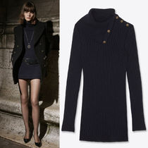 WSL1786 LOOK5 BUTTONED COWL-NECK KNIT DRESS