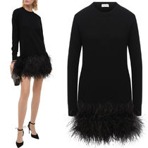 WSL1788 FEATHER TRIMMED CASHMERE KNIT DRESS