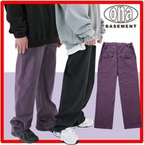 ★韓国の人気★【ONA】★POINT LABEL COTTON WIDE PANT.S★2色★