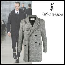 ★ YSL ★ Double-breasted grained coat コート ☆ グレー ☆
