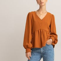 La Redoute★V-Neck Peplum Blouse with Balloon Sleeves