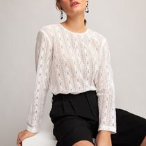 La Redoute★Long-Sleeved Lace Blouse in Cotton Mix