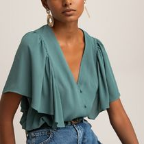 La Redoute★V-Neck Blouse with Short Ruffled Sleeves